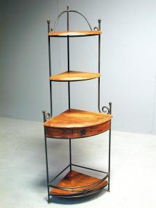 Etag re d 39 angle palissandre et fer forge catalogue batiexpo - Etagere d angle fer forge ...